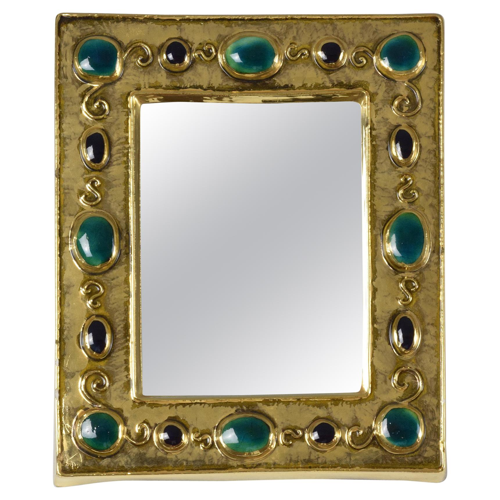 French Midcentury Ceramic Mirror Frame by François Lembo, 1960s