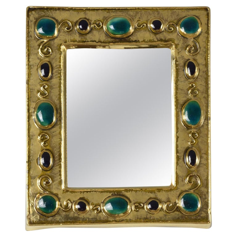 French Midcentury Ceramic Mirror Frame by François Lembo, 1960s For Sale