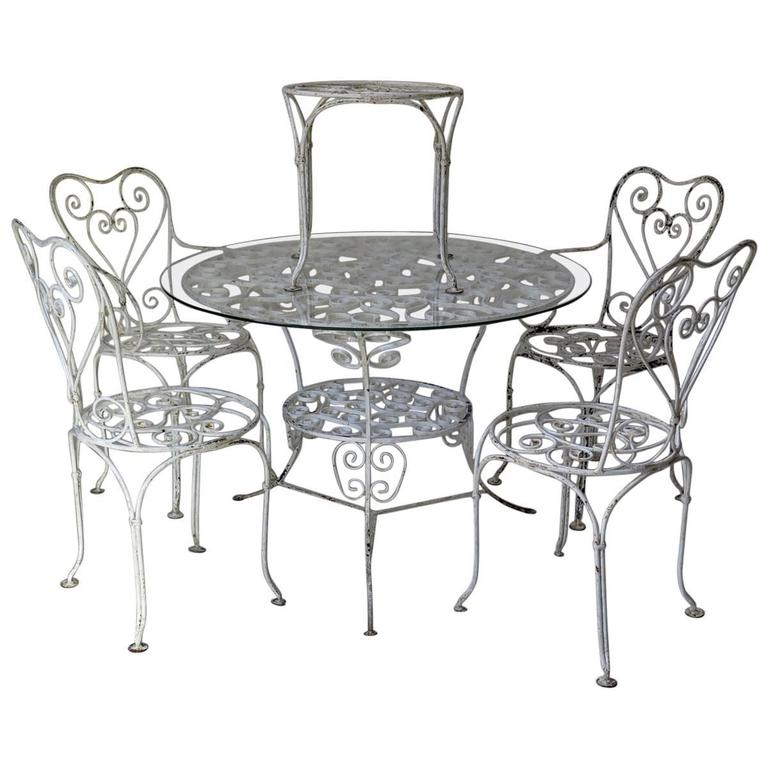 Wrought iron outdoor dining set france circa 1950s for for Wrought iron dining set outdoor