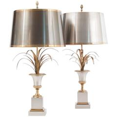 Matched Pair of Hollywood Regency Vase Roseaux Table Lamps by Maison Charles