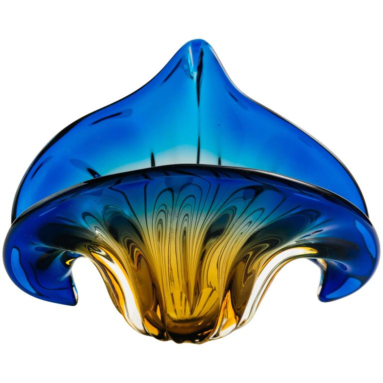 Art Deco Fleur-de-Lis Murano Vase in Vibrant Blue and Amber 1