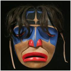 20th Century North West Coast American Indian Signed Crying Mask George Hunt Jr