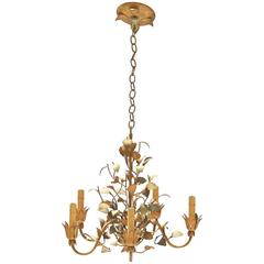 Five-Arm Tole' Painted Chandelier