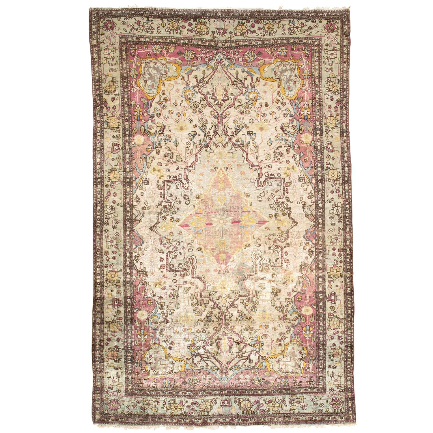 Ivory Wool And Silk Persian Naein Area Rug For Sale At 1stdibs: Antique Silk Montasham Kashan Rug, Ivory Hand Made