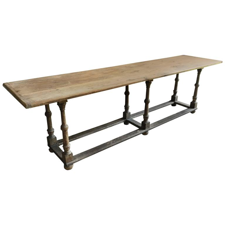 Country Pine Trestle Table, 19th Century