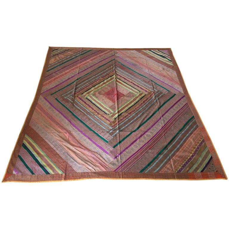 Silk Sari Textile Quilt Patchwork, India For Sale