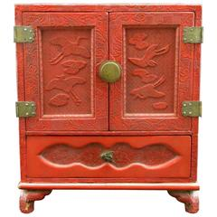 Japanese Red Cinnabar Lacquer Table Cabinet, Meiji Period (1868-1912)