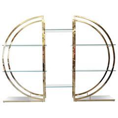 Milo Baughman Style Brass and Glass Étagère, circa 1970s