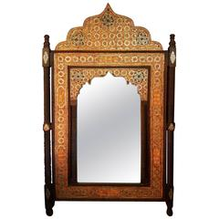 Moroccan Mirror, Framed with Orange Dye Camel Bone