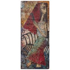 """""""Mexican Woman"""" Abstract Impressionist Oil Painting Dated 1959"""