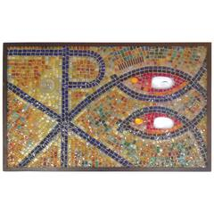 One of a Kind Murano Mosaic Glass Panel in Wrought Iron by Barovier and Toso