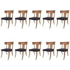 "Set of Ten 1950s Mahogany Klismos ""Athens"" Chairs"