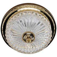 French Fluted Crystal and Brass Flush Mounted Fixture