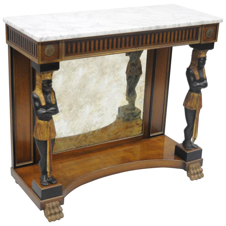 Figural Venetian Style Egyptian Blackamoor Marble Top Cherry Console Hall Table For