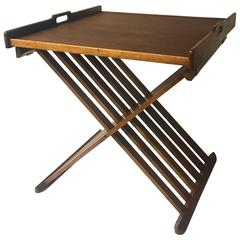 Mid-Century Campaign Style Walnut Folding Table by Kipp Stewart for Drexel