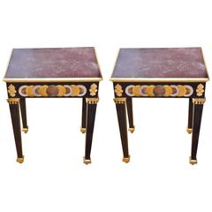Pair of Faux Porphyry Painted Side Tables