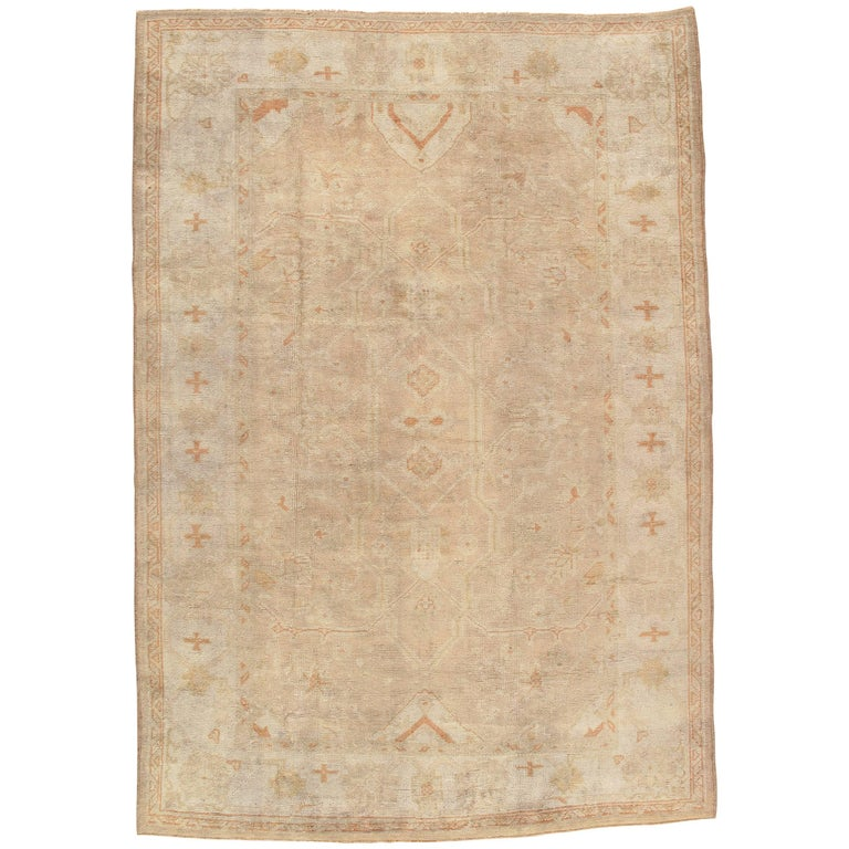 Antique Oushak Carpet, Oriental Rug, Handmade Turkish, Ivory and Soft Coral For Sale