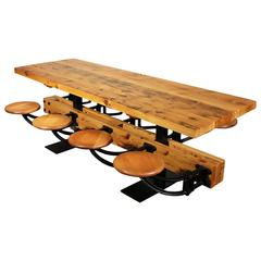 Dining Table with Chairs, Reclaimed Wood and Cast Iron Eight-Seat Indoor Picnic