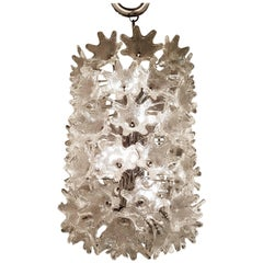 Mid-Century Italian Clear Floral Murano Glass and Chrome Chandelier