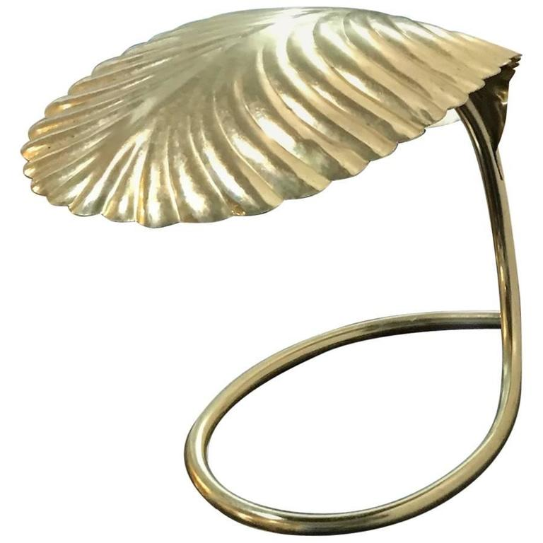 Italian Mid-Century Modern Tommaso Barbi Brass Leaf Decorative Table Lamp