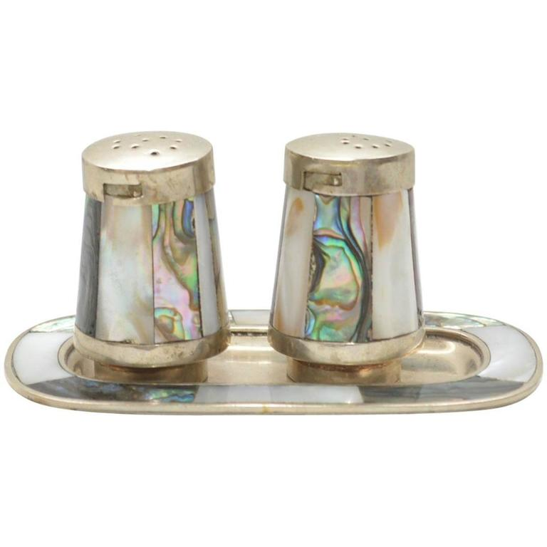 Mid-Century Modern Salt and Pepper Shakers Abalone after Los Castillo 1