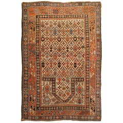 Caucasian Kuba Meditation Rug, in Small Size, with Ivory Field and Prayer Arch