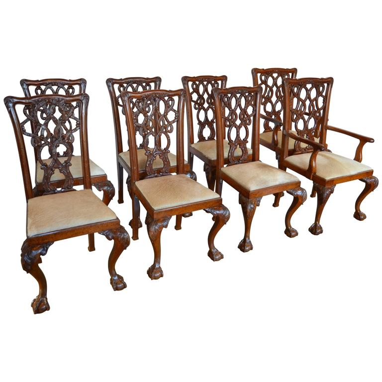 English Mahogany Chippendale Dining Chairs in Cowhide For Sale