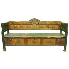 Distressed Painted Green Yellow Bird & Flower Primitive Long Bench Flip Seat