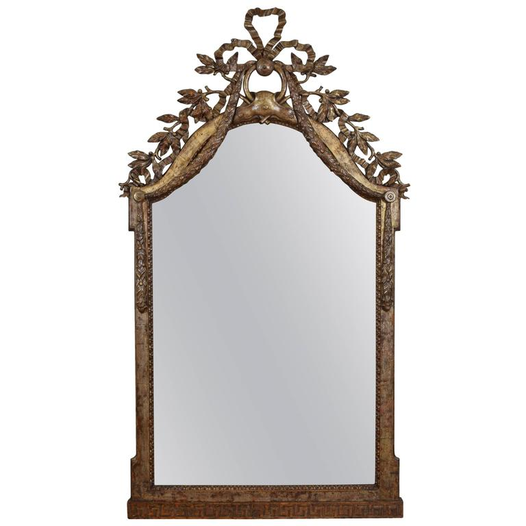 Exceptional Italian, Parma, Carved and Silvered Wooden Mirror, circa 1780 For Sale