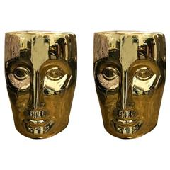 Pr of Philippe Stark Lacquered Gold Bronze Modernist Stools or Side Tables