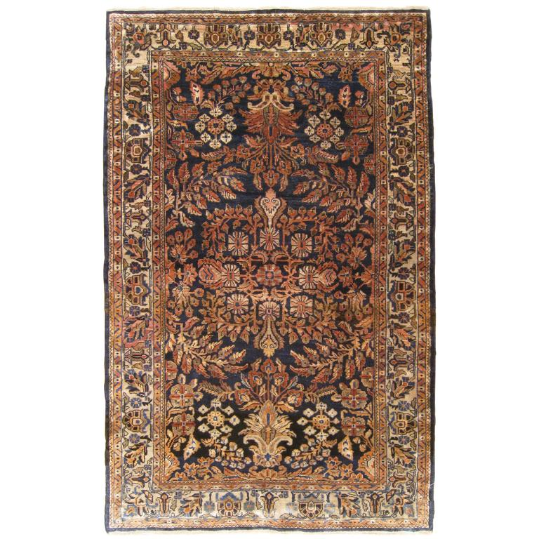 Antique Persian Sarouk Oriental Rug In Small Size With