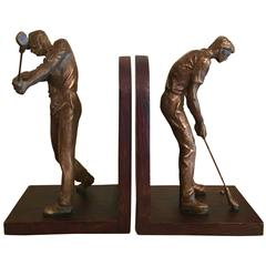Pair of Bookends with Phenomenal Three Dimensional Golfer