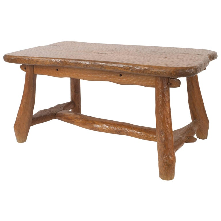 French Rustic Adirondack Style Chipped Pine Dining Table For Sale