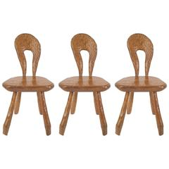 Three French Rustic Adirondack Style Chipped Pine Side Chairs