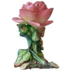 Majolica Rose Vase Delphin Massier, circa 1890