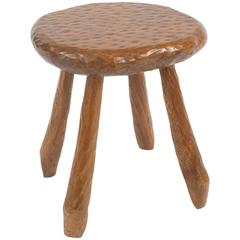 French Rustic Adirondack Style Chipped Pine Stool