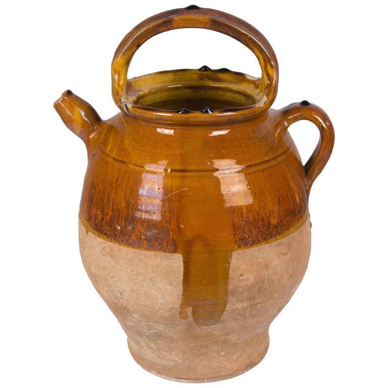 French Terracotta Vinaigrier or Vinegar Pot For Sale