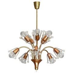 Emil Stejnar Sputnik Chandelier Rupert Nikoll, Brass Copper Glass, Vienna, 1950s