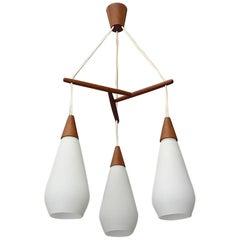 Sculptural Scandinavian Teak White Glass Midcentury Lamp Luxus Uno Kristiansson
