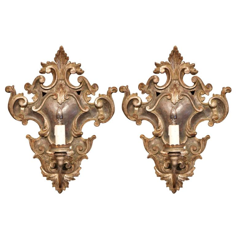 Large Iron Wall Sconces : Large Pair of Italian Carved and Iron Wall Sconces with Silver Leaf Finish For Sale at 1stdibs