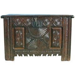 Early to Mid-17th Century Carved Spanish Basque Arms Chest, Oak