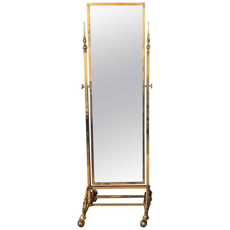 Hollywood Regency Style Brass Cheval Mirror For