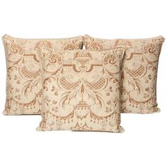 Set of Three Vintage Fortuny Fabric Cushions in the Mazzarino Pattern