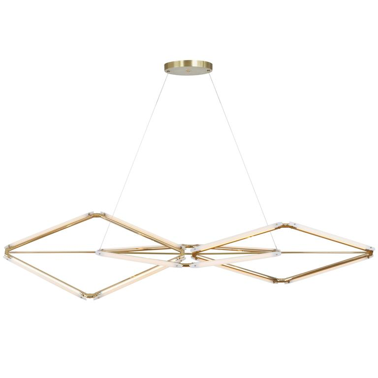 Bec Brittain Zelda Links, Customizable Brass Chandelier with Glass Diffusers
