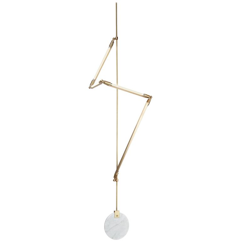 Bec Brittain Helix Hanging Short, Brass Led Lamp with Marble Counterweight