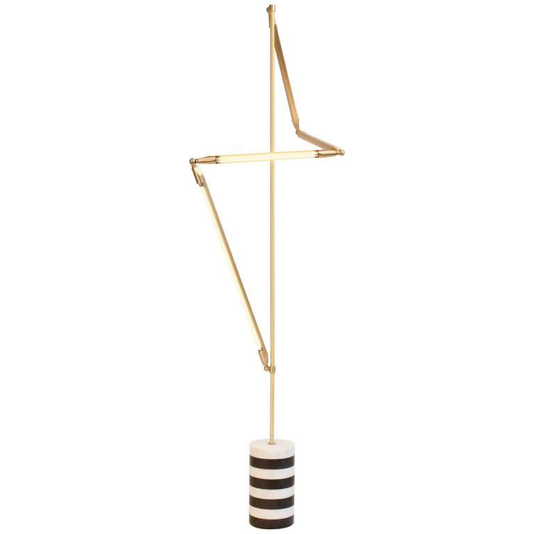 Bec Brittain Helix Floor, Brass LED Floor Lamp with Marble Base For Sale