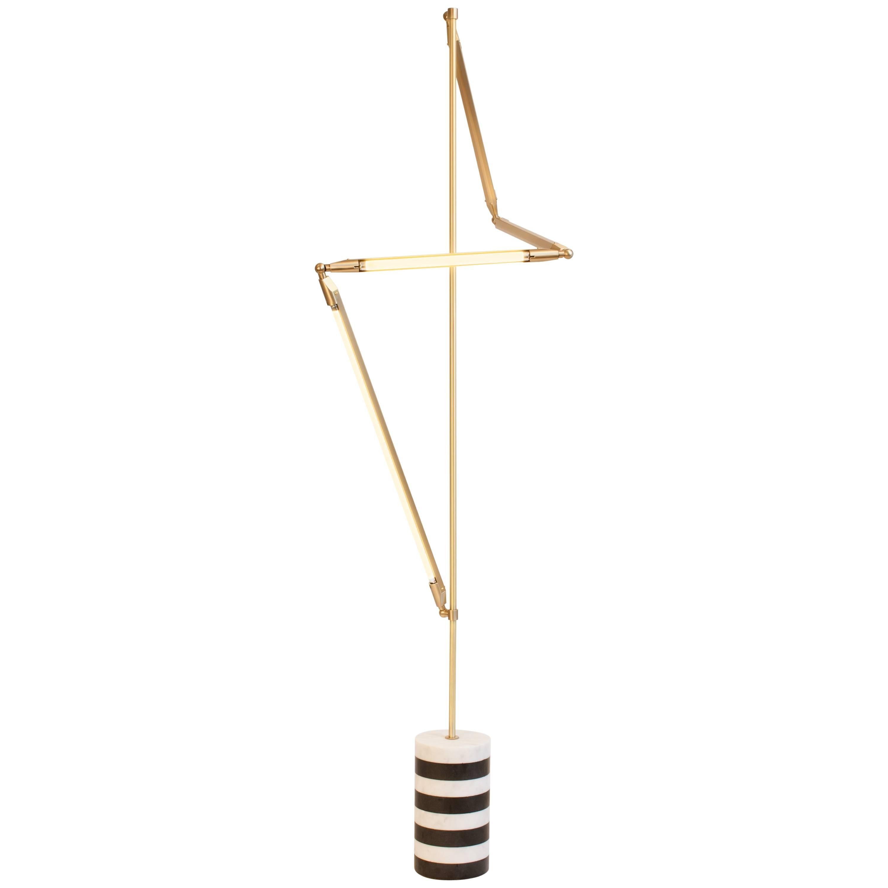 Bec Brittain Helix Floor, Brass LED Floor Lamp with Marble Base