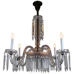Victorian Four-Arm Crystal Chandelier