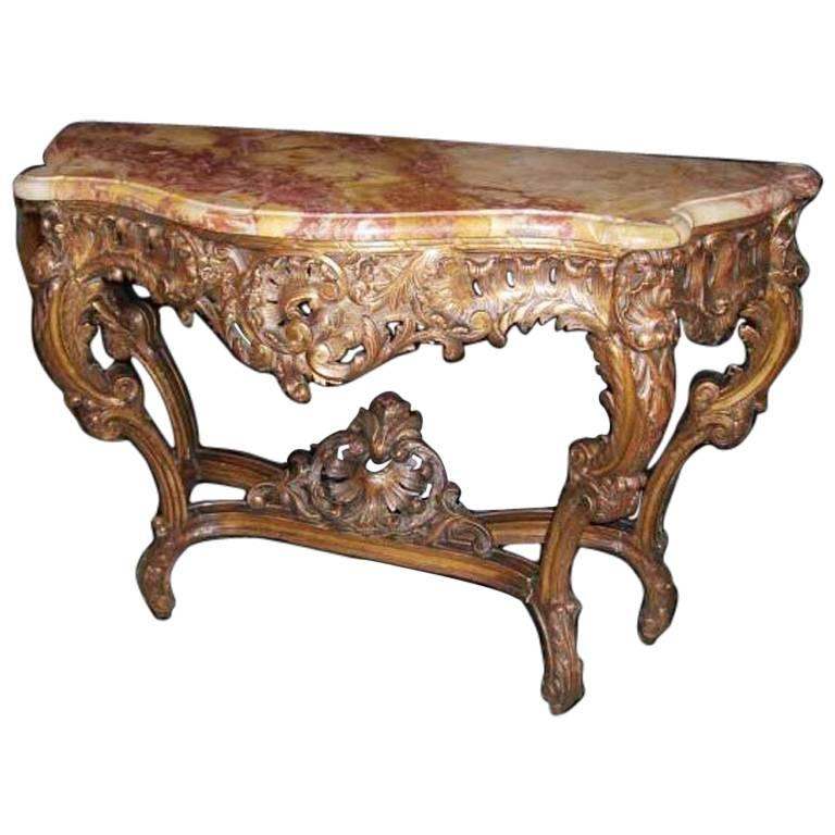 18th Century French Louis XV Carved Walnut Console For Sale at 1stdibs
