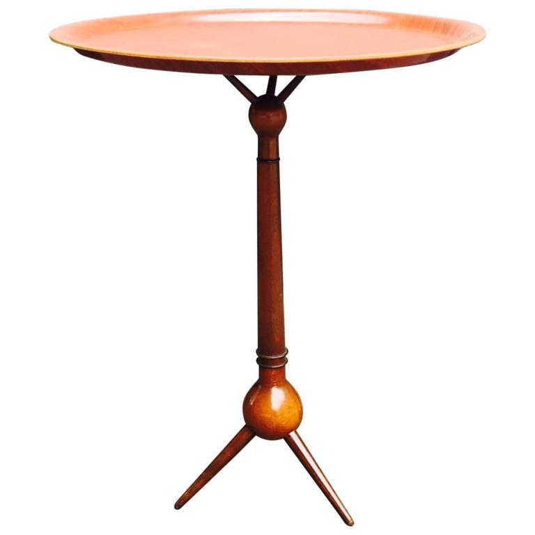 Walnut & Teak Sputnik Tripod Tray, Side Table by Severin Hansen, Denmark, 1950s